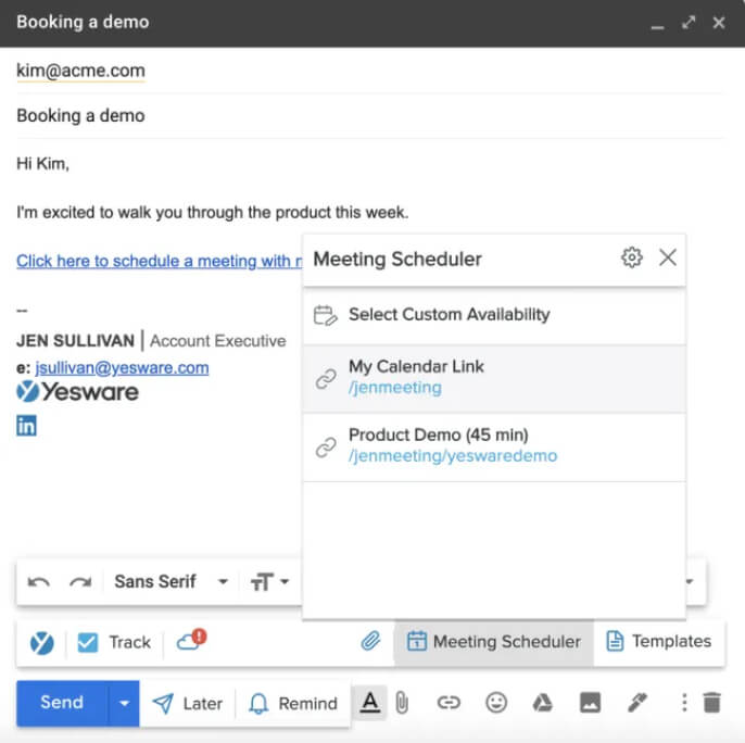 Yesware Meeting Scheduler for Gmail