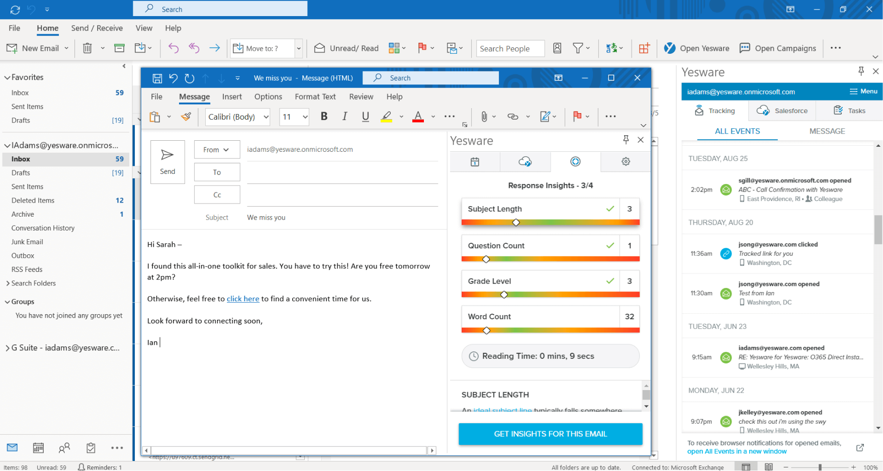 Yesware for Outlook