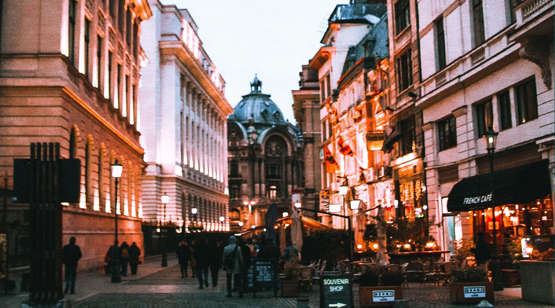 Scene of busy street in downtown Bucharest