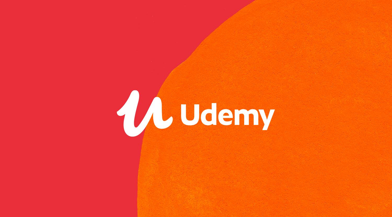 Udemy logo on orange and red background