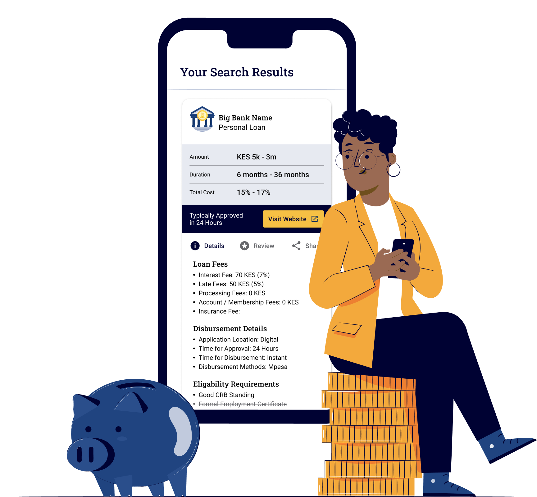 A Kenyan woman is excited about her Personal Loan search results on Money254 and feeling confident about her financial future.