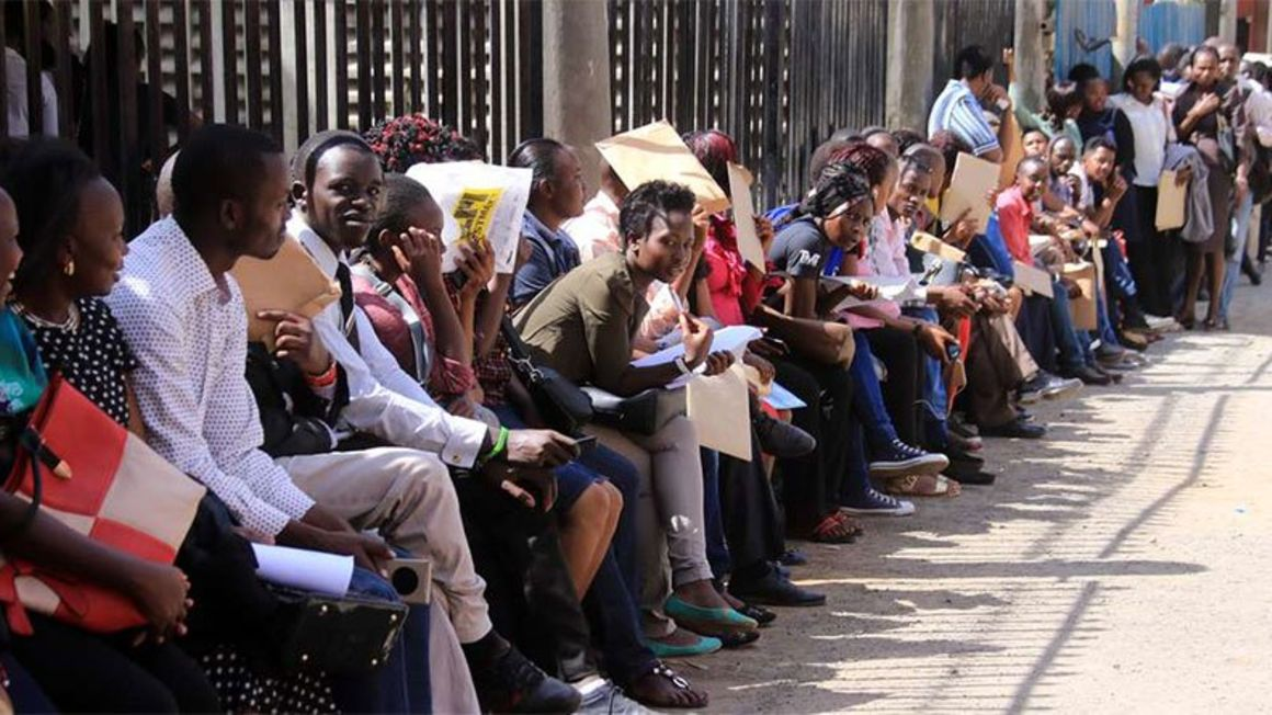 Jobseekers in a queue to submit their applications. PHOTO | NMG