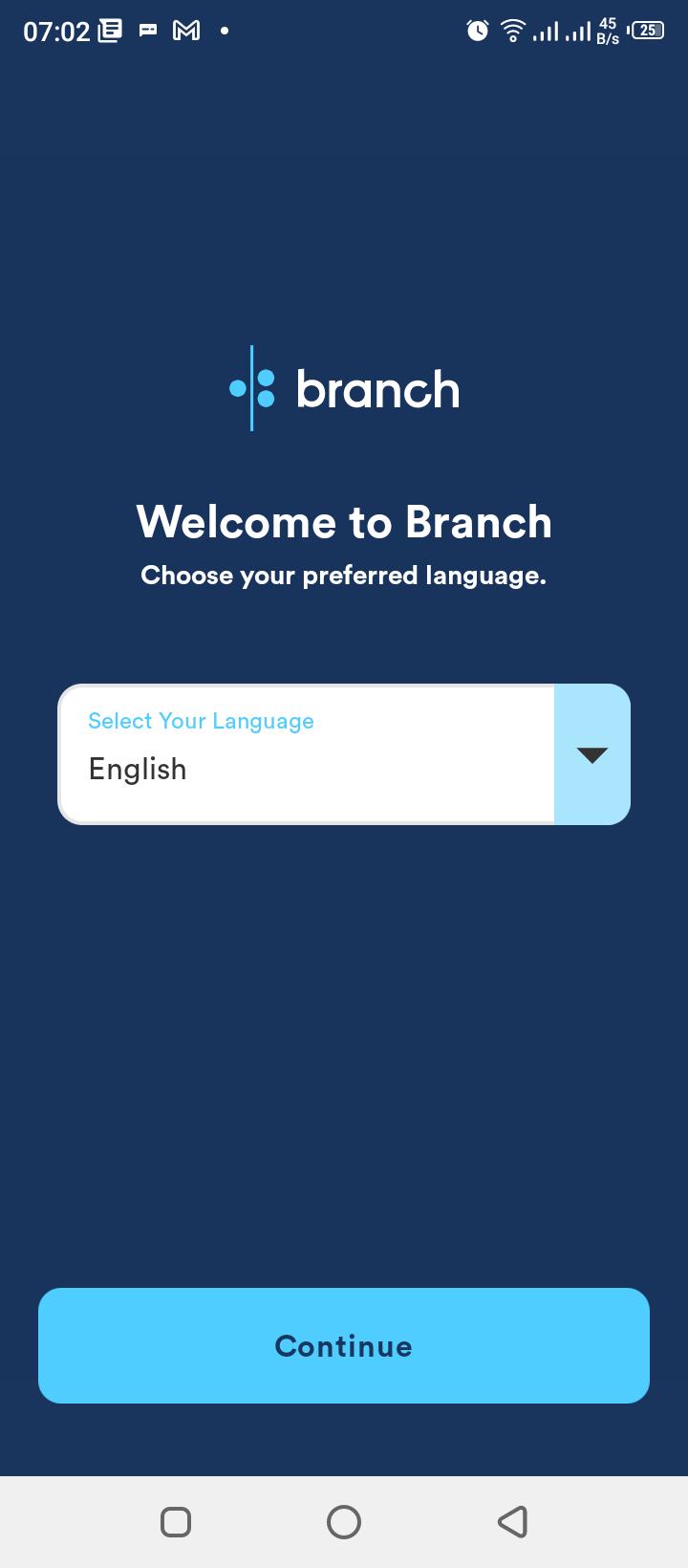 Branch Select Language Screen