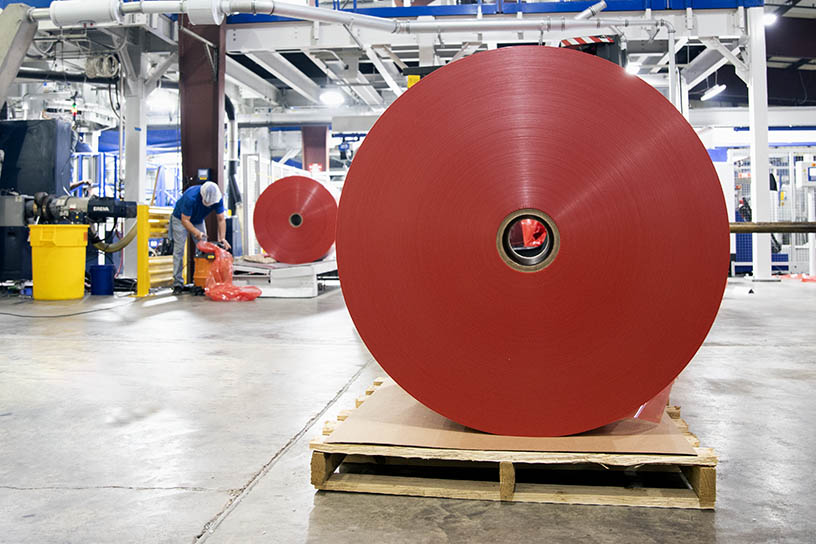 A roll of MSE specialty film ready for shipping.