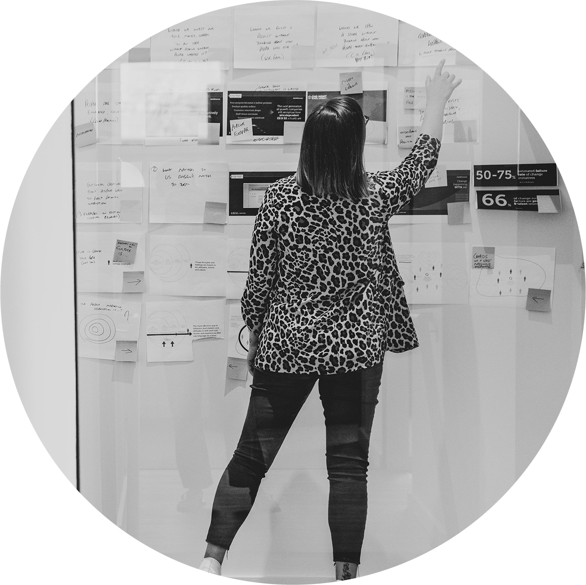 A lady in cheetah print points to a paper on a brainstorming wall covered in notes and photos