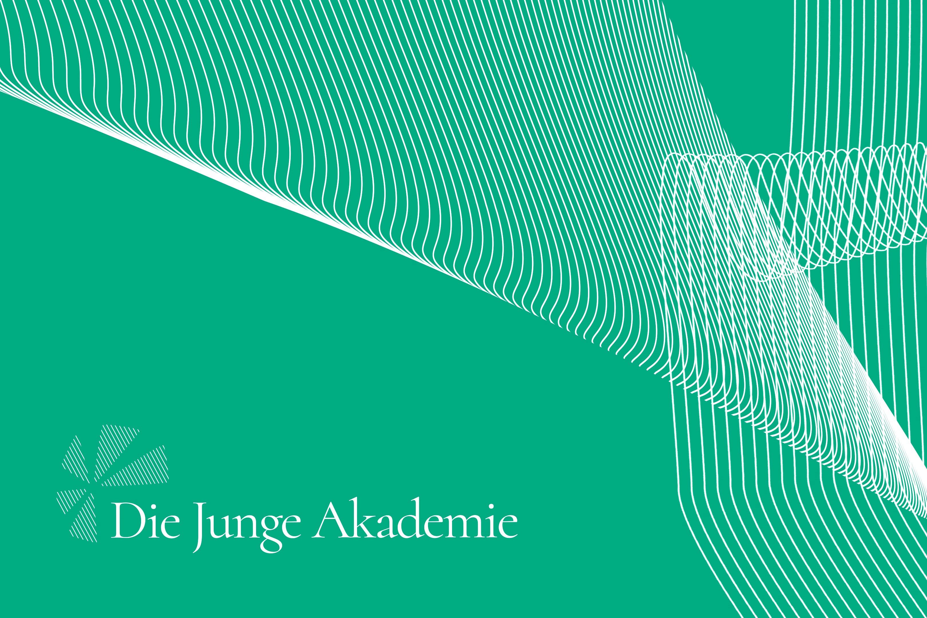 """grüner Hintergrund und darauf der Schriftzug """"Die Junge Akademie"""""""
