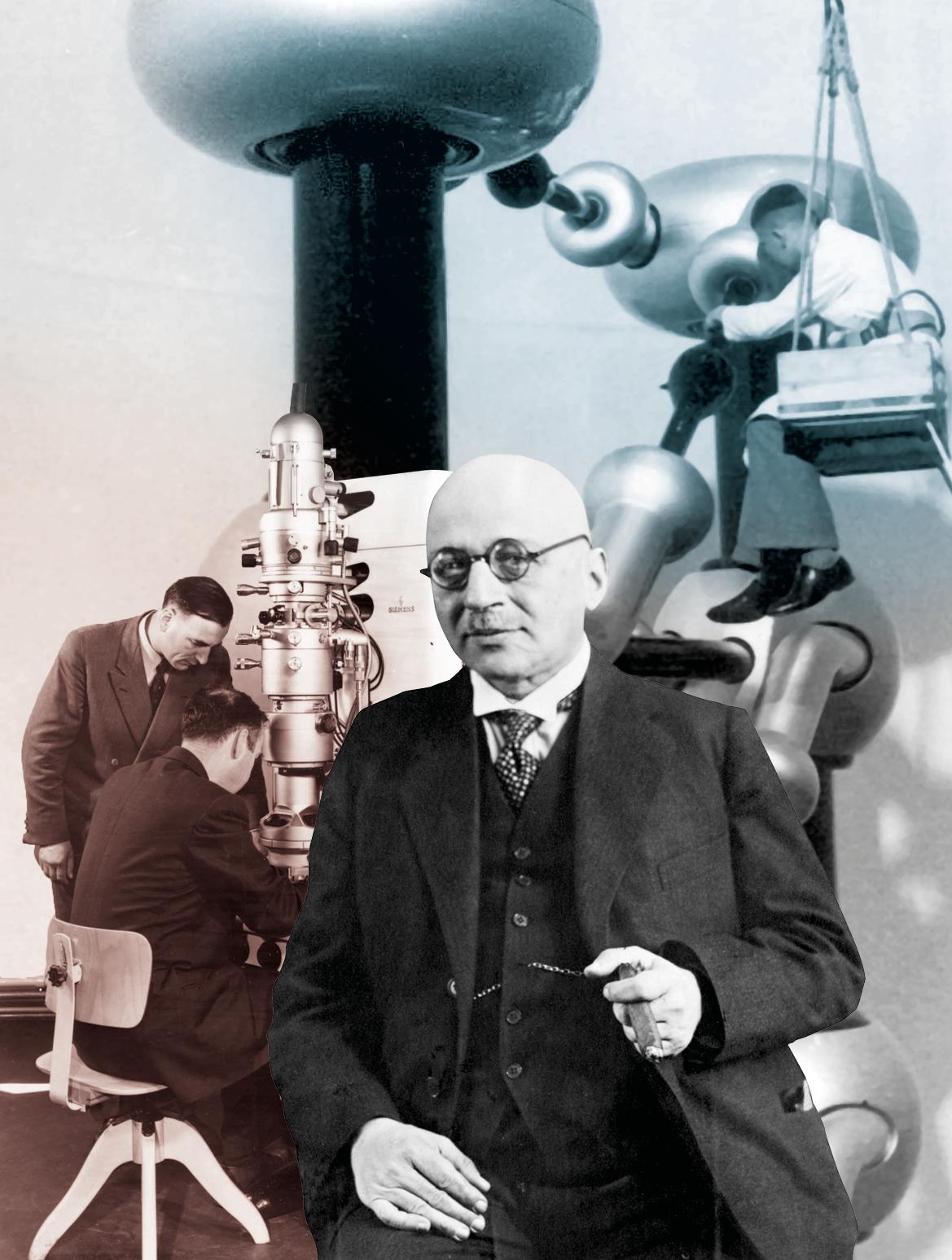 Fotocollage: Wissenschaft in Berlin-Dahlem. Der Chemiker und Nobelpreisträger Fritz Haber (1868-1934), Ernst Ruska (1906-1988) am Elektronenmikroskop, Kaskadengenerator im Kaiser-Wilhelm-Institut für Physik, 1940er-Jahre