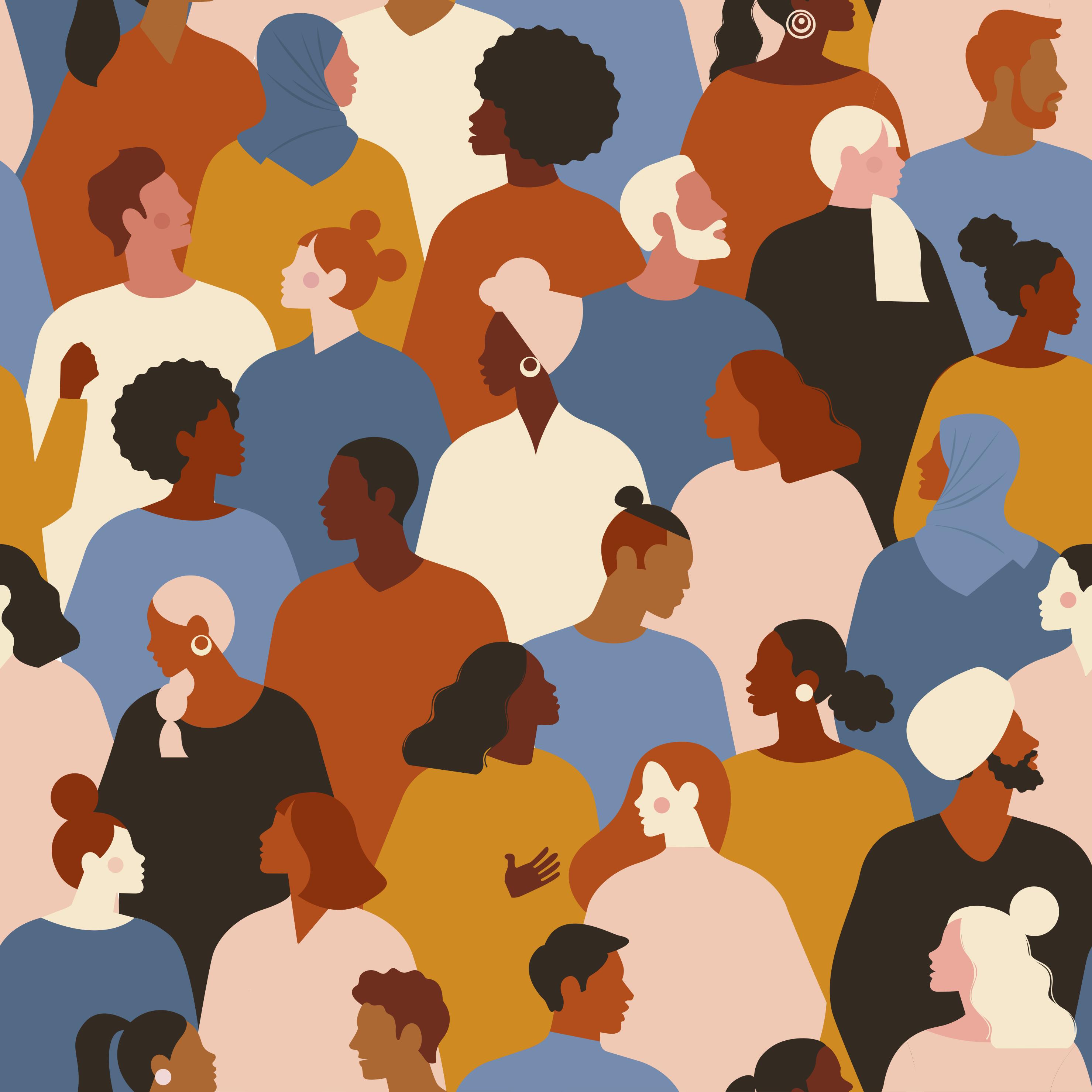 gemaltes Bild von Personenmenge