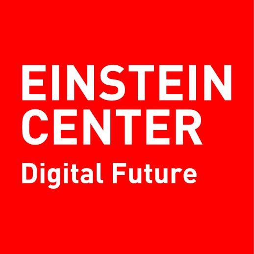 """weißer Schriftzug """"Einstein Center Digital Future"""" vor roter Fläche"""