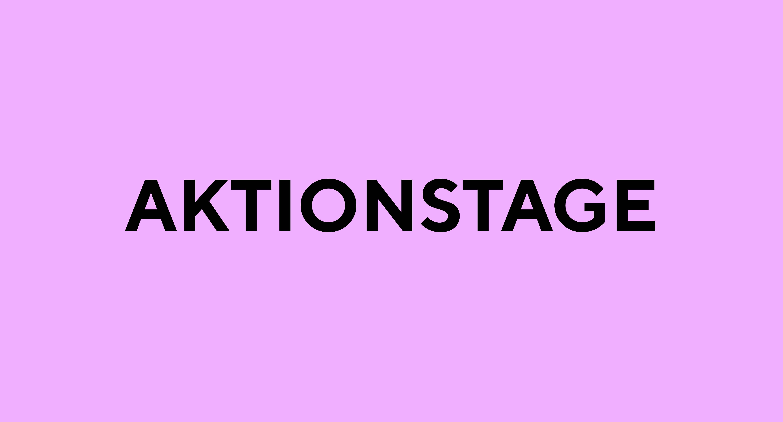 """Lila Hintergrund mit schwarzem Schriftzug """"Aktionstage"""""""