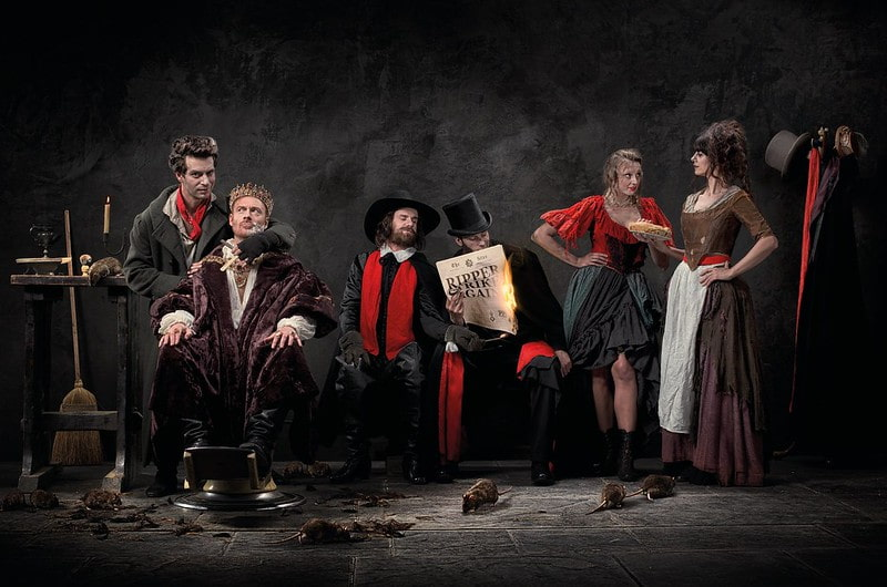 Actors dressed as Sweenty Todd, Henry VIII and Guy Fawkes at The London Dungeons.