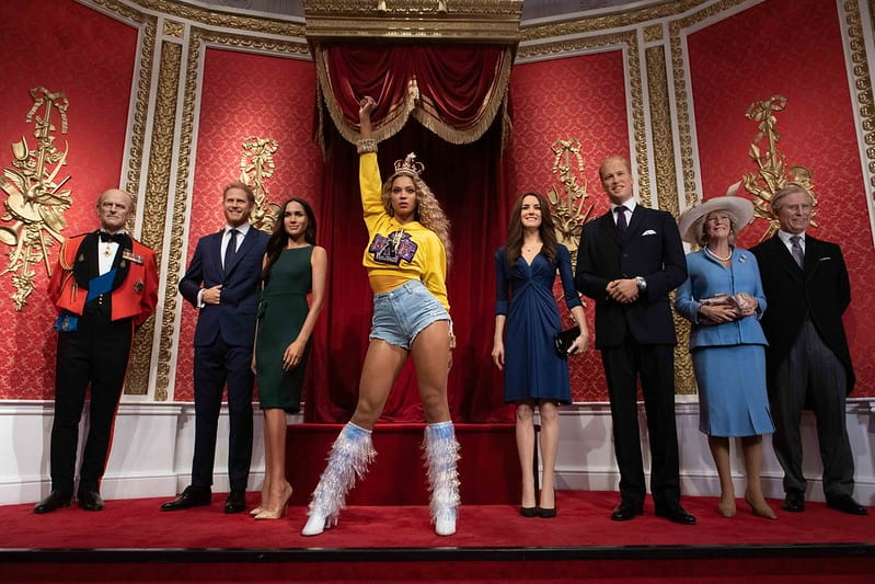 The waxwork figures of Beyonce and the Royal Family at Madame Tussauds.
