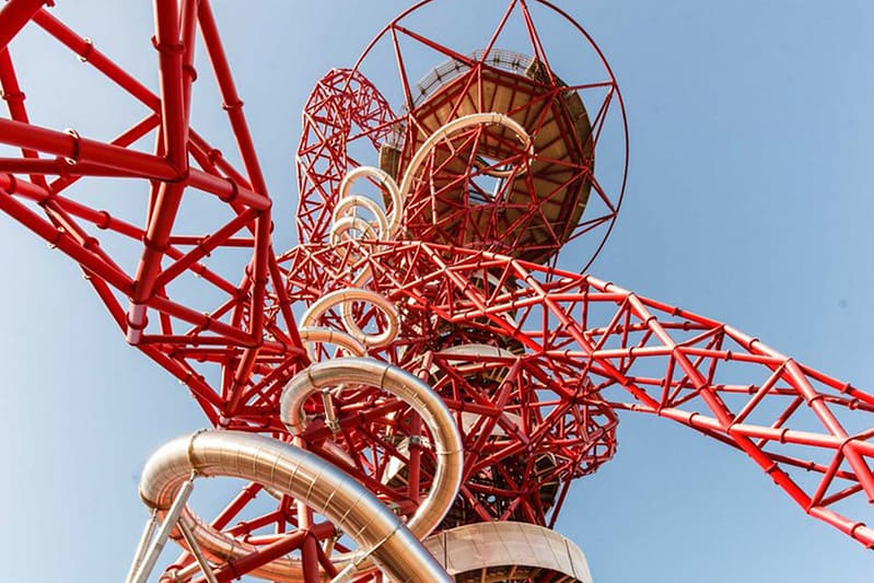 View from beneath the ArcelorMittal Orbit looking up through the sculpture.