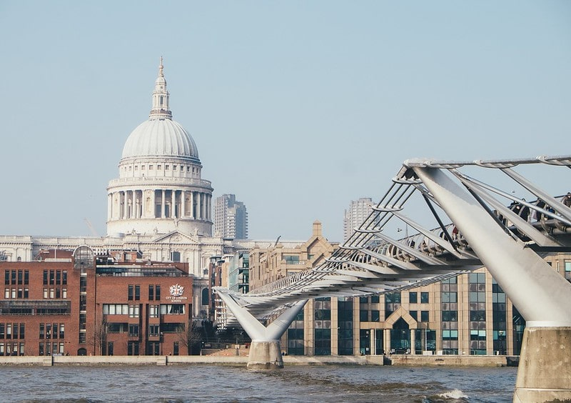 St Paul's Cathedral and the Millenium Bridge in London.