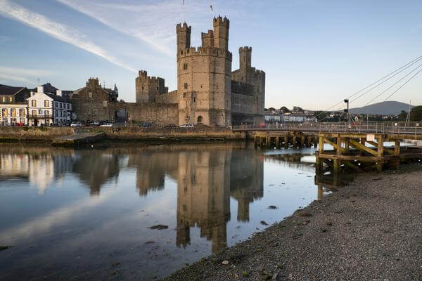 A view of Caernarfon Castle from the riverside.