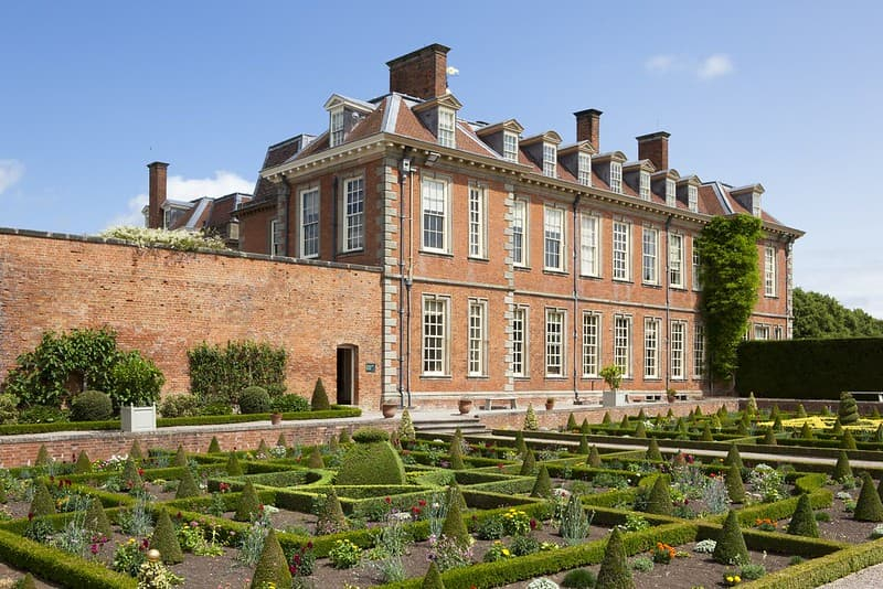 Hanbury Hall is a large red-bricked country house with formal gardens.
