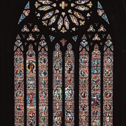 The famous stained glass of Worcester Cathedral.
