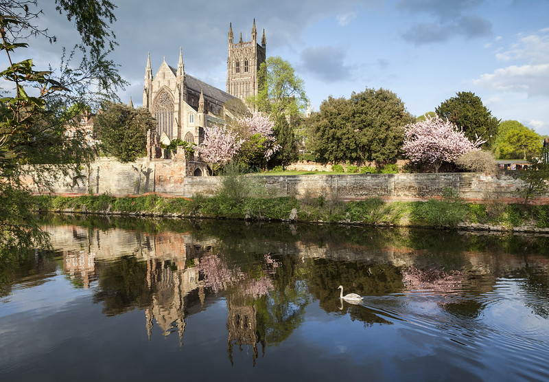 Worcester Cathedral towering above the River Severn.