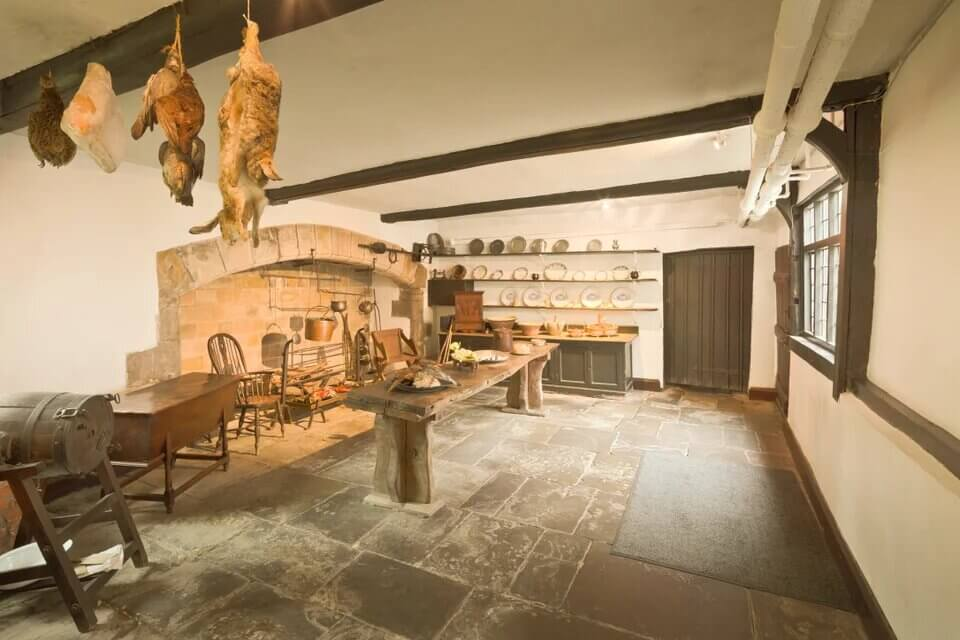 Inside of a kitchen at Astley Hall.