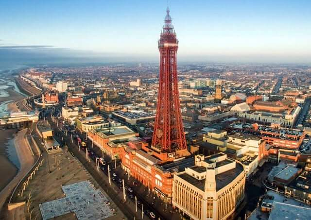 Blackpool Tower and surrounding view of Blackpool.