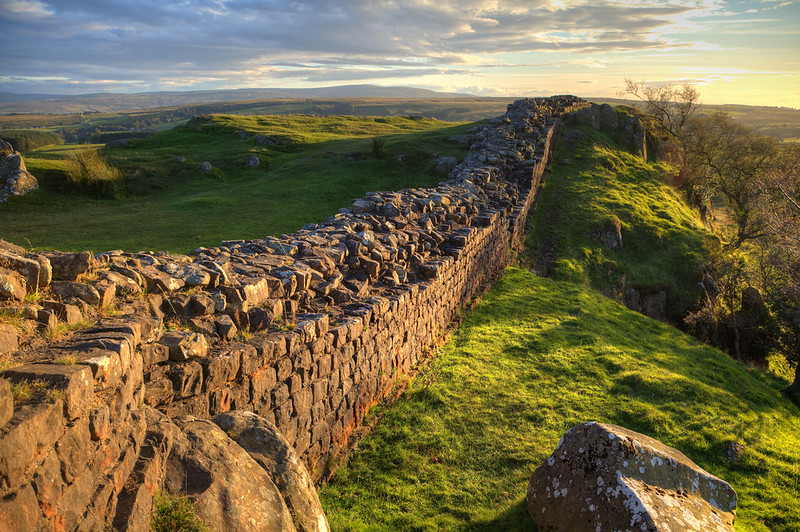 A long stretch of Hadrian's wall, which is 73 miles long.