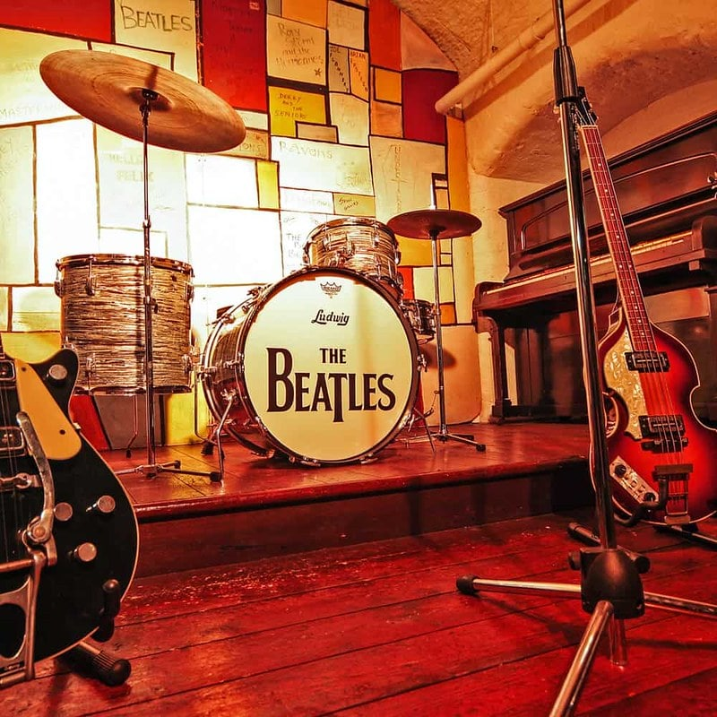 A drum kit with The Beatles logo at The Beatles Story museum.