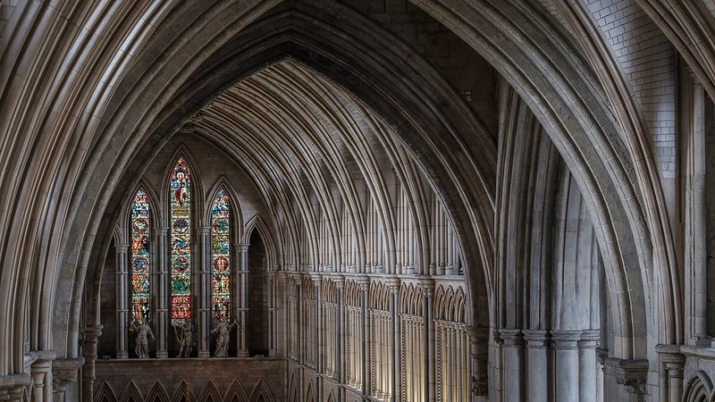 Archways and stained glass windows.
