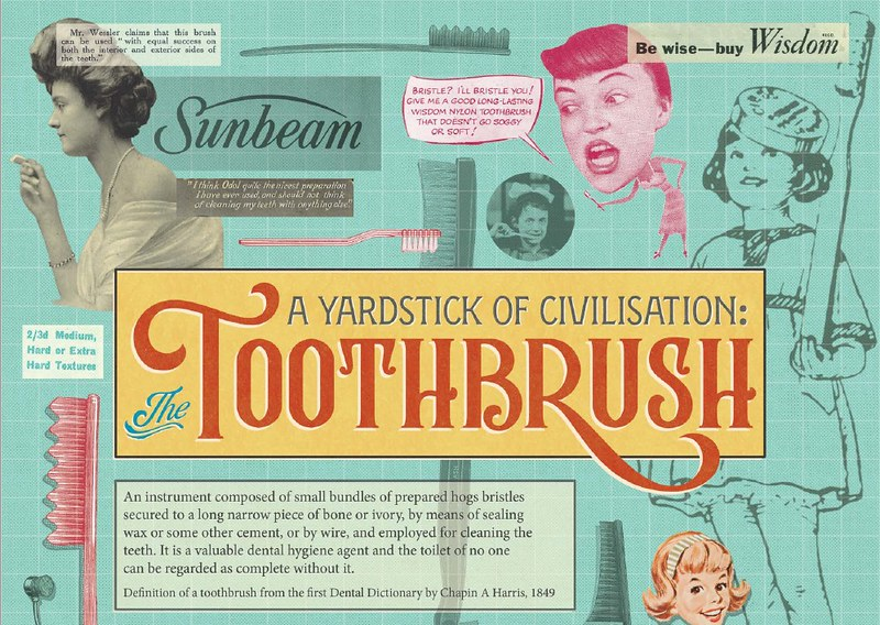 Colourful graphic 1950s style poster about toothbrushes.