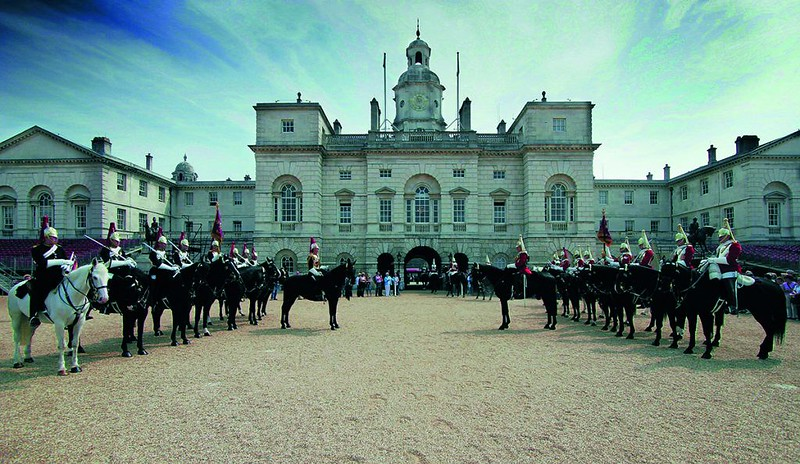 Household Cavalry Museum exterior with soldiers on horses.