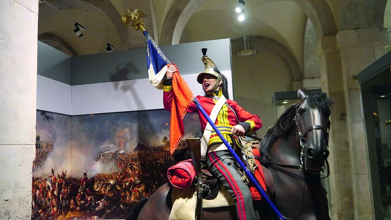 Wax figure of solider on horse at Household Cavalry Museum.