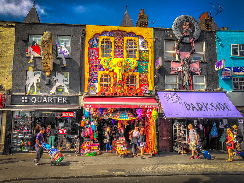 Colourful shop front stores at Camden Market.