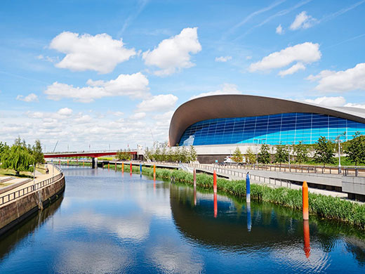 View of river and Queen Elizabeth Olympic Park.