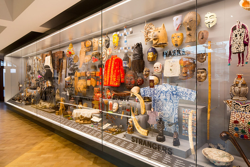 Array of artefacts displayed in Horniman World Gallery.