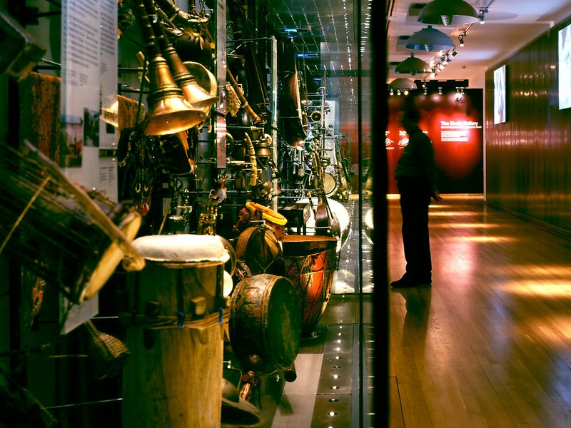 Various pieces of music equipment exhibited at Horniman music gallery.
