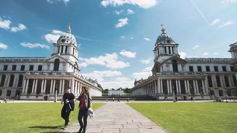 The Old Royal Naval College in the foreground with the Queen's House positioned in the centre.