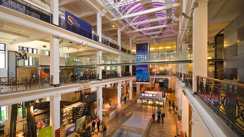 View of multiple levels of the Science Museum.