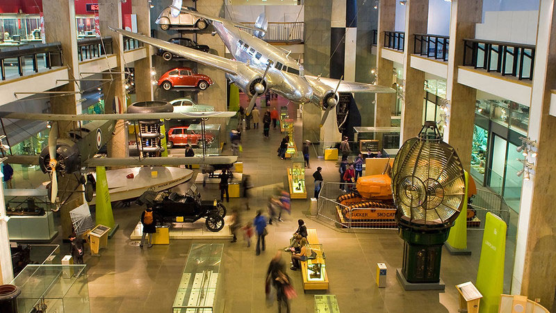 View of the Science Museum exhibits from above.