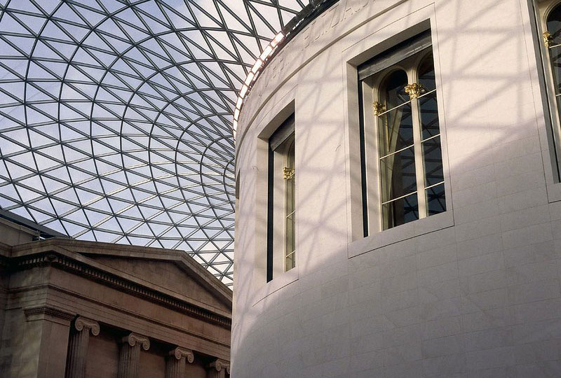 Looking up at the British Museum's geometric glass ceiling.
