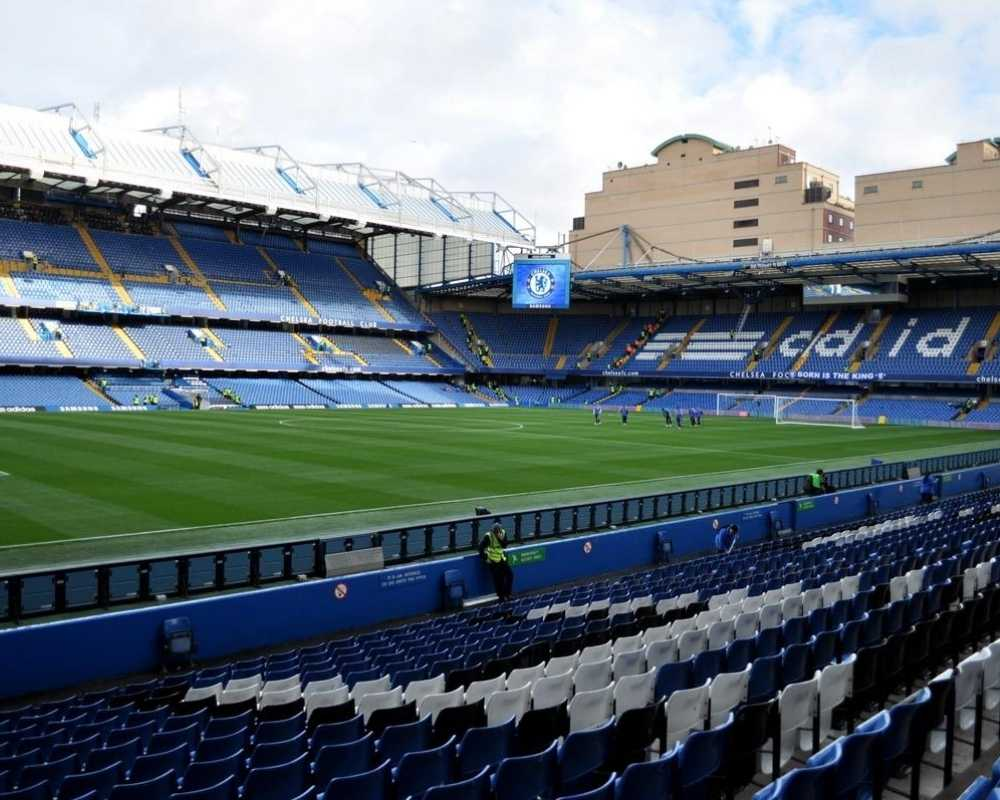 The East Stand and Shed End from across the pitch at Stamford Bridge.