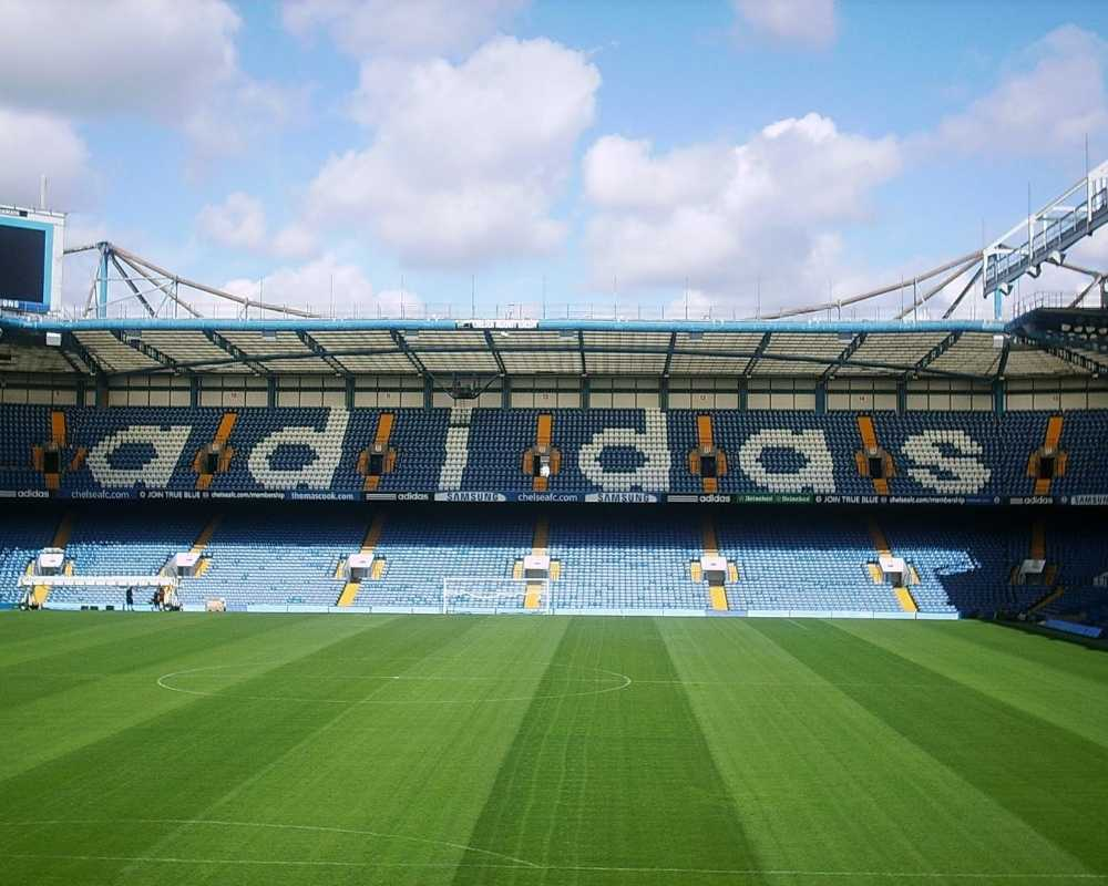 The Matthew Harding Stand at Stamford Bridge with the pitch in shot.
