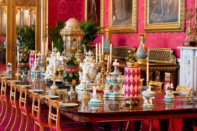 The State Dining Room table at Buckingham Palace.