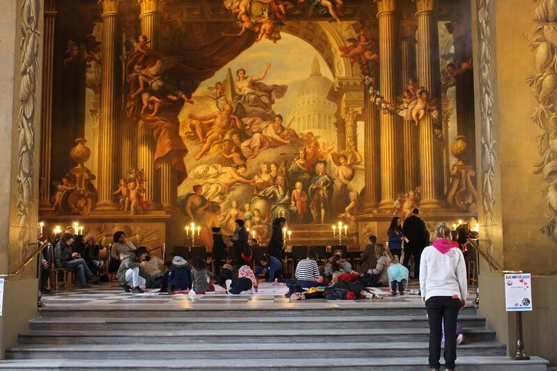 People viewing The Painted Hall in Greenwich.