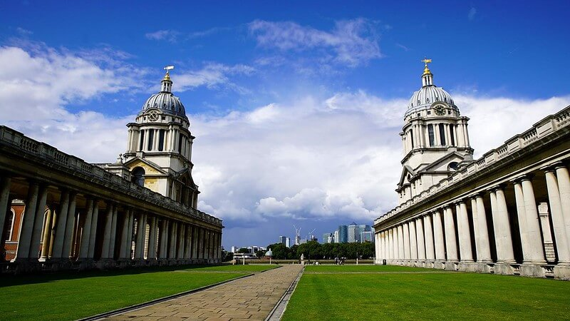 Exterior view of the Old Royal Naval College in Greenwich.