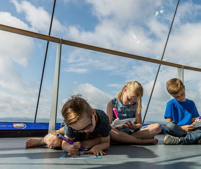 Kids taking part in activities at the Spinnaker Tower in Portsmouth.