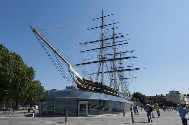 View of Cutty Sark boat against blue sky.