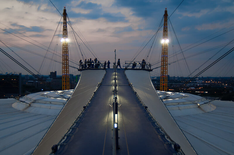 Groups on top of the O2 Arena just after the sun has set.