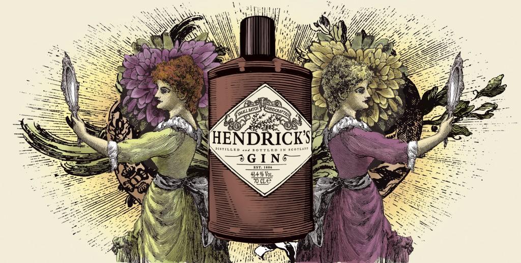 Hendrick_s Gin Bottle Illustration with Women