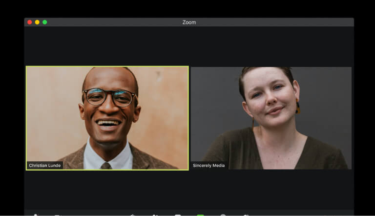 Man and woman on a video call