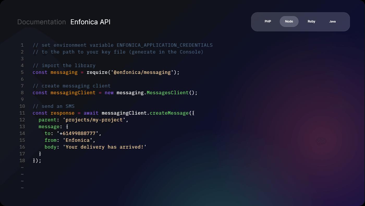Enfonica API user interface