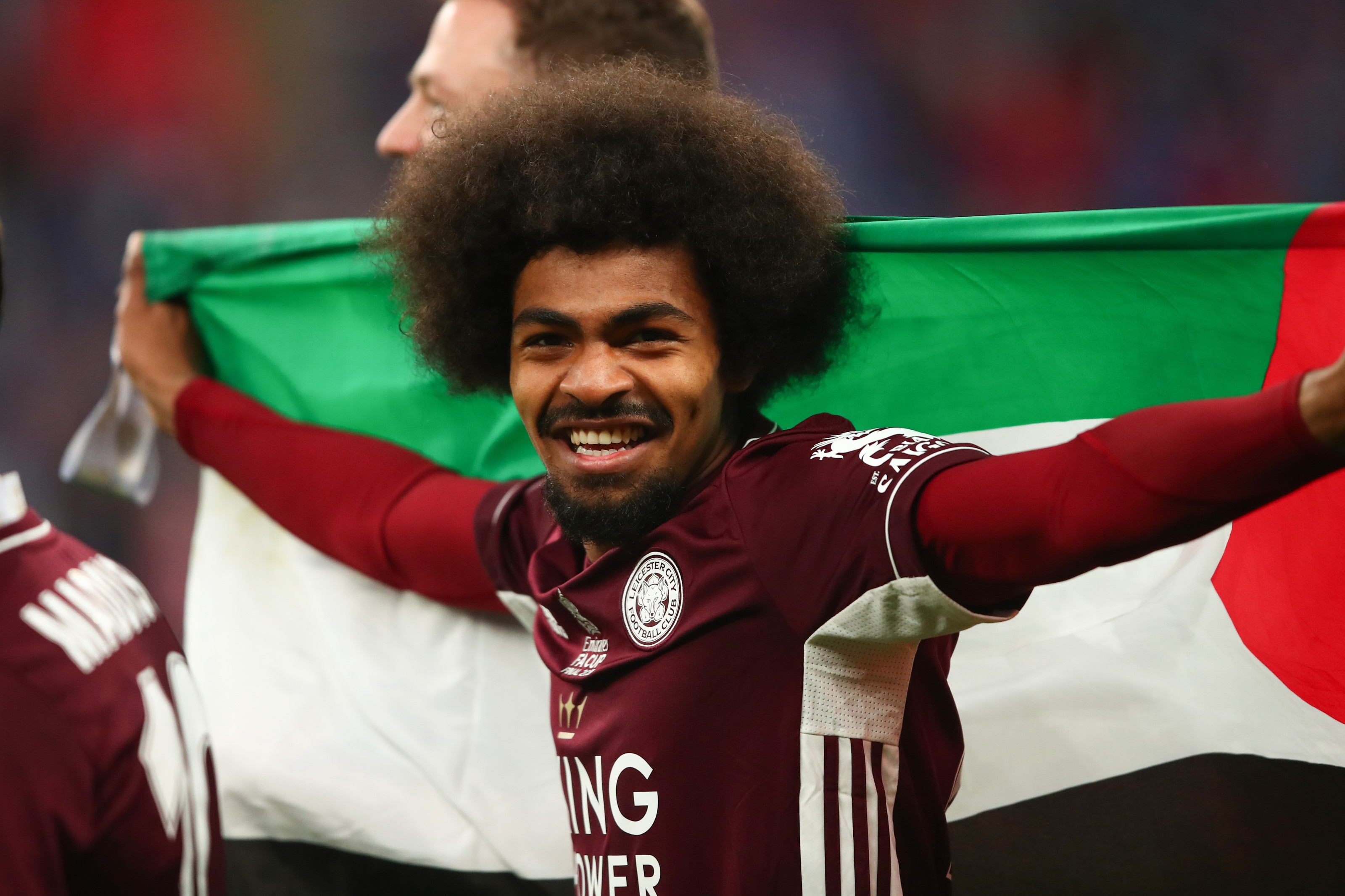 Leicester City players Hamza Choudhury and Wesley Fofana with Palestinian flag
